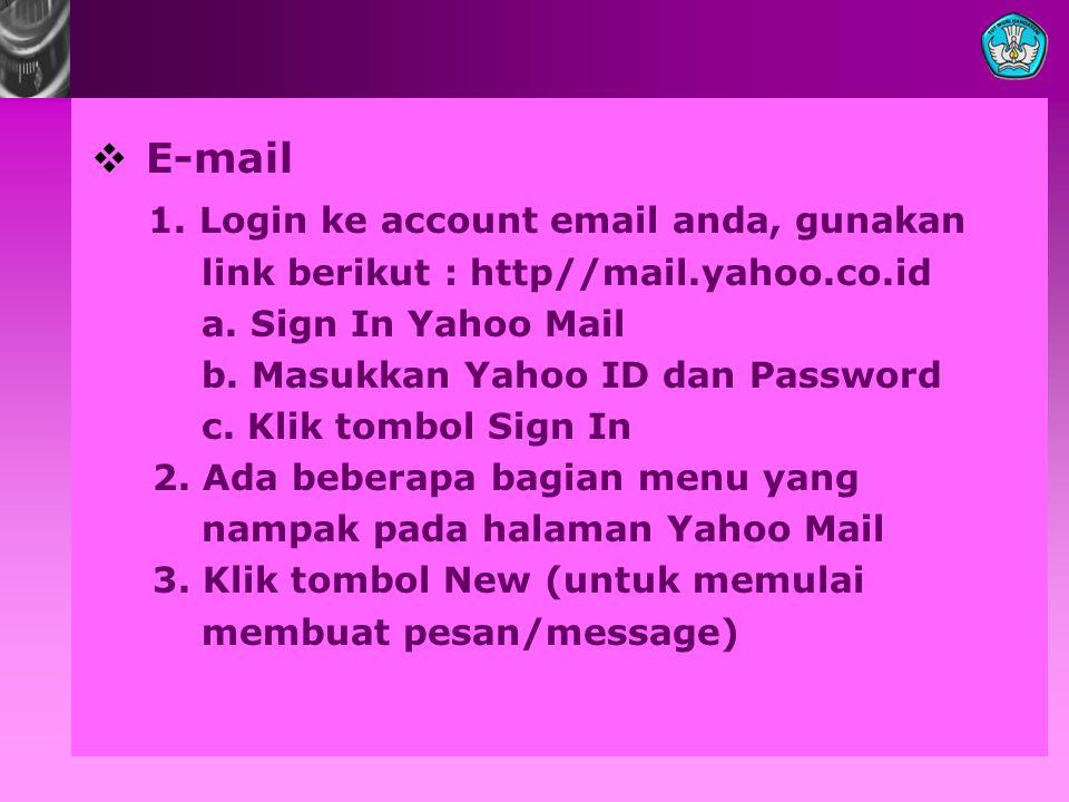  E-mail 1.Login ke account email anda, gunakan link berikut : http//mail.yahoo.co.id a.