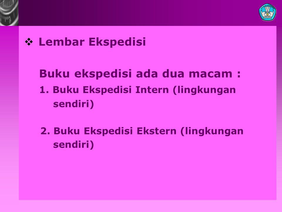  Lembar Ekspedisi Buku ekspedisi ada dua macam : 1.