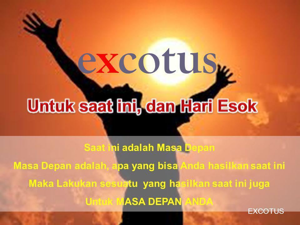 Saat ini adalah Masa Depan Masa Depan adalah, apa yang bisa Anda hasilkan saat ini Maka Lakukan sesuatu yang hasilkan saat ini juga Untuk MASA DEPAN ANDA excotus EXCOTUS