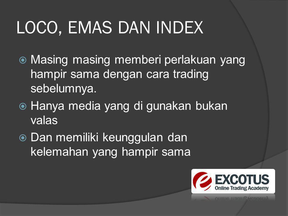 LOCO, EMAS DAN INDEX  Masing masing memberi perlakuan yang hampir sama dengan cara trading sebelumnya.