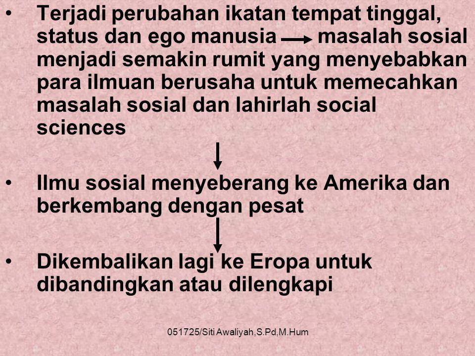 051725/Siti Awaliyah,S.Pd,M.Hum •Di jaman Yunani semua ilmu masuk filsafat alam dan filsafat social •Awal abad 17 ditemukan berbagai benua baru yang m