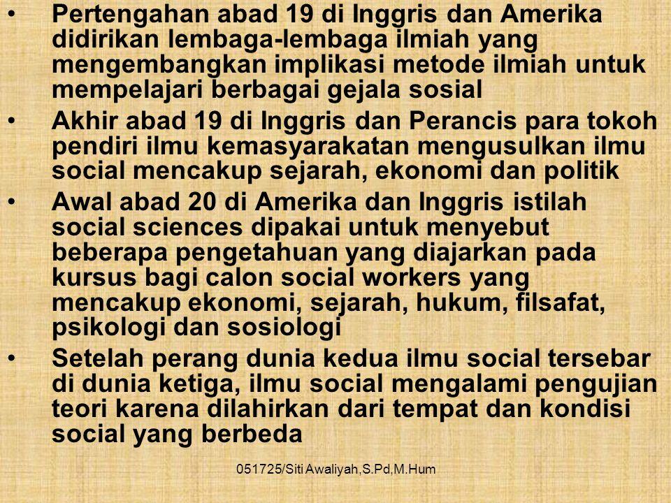 051725/Siti Awaliyah,S.Pd,M.Hum •Terjadi perubahan ikatan tempat tinggal, status dan ego manusia masalah sosial menjadi semakin rumit yang menyebabkan
