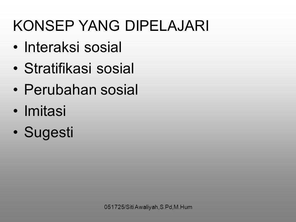 051725/Siti Awaliyah,S.Pd,M.Hum ILMU SOSIOLOGI PENGERTIAN •Menyelidiki aksi manusia yg memiliki pengaruh timbal balik dlm kehidupan masy •Mempelajari