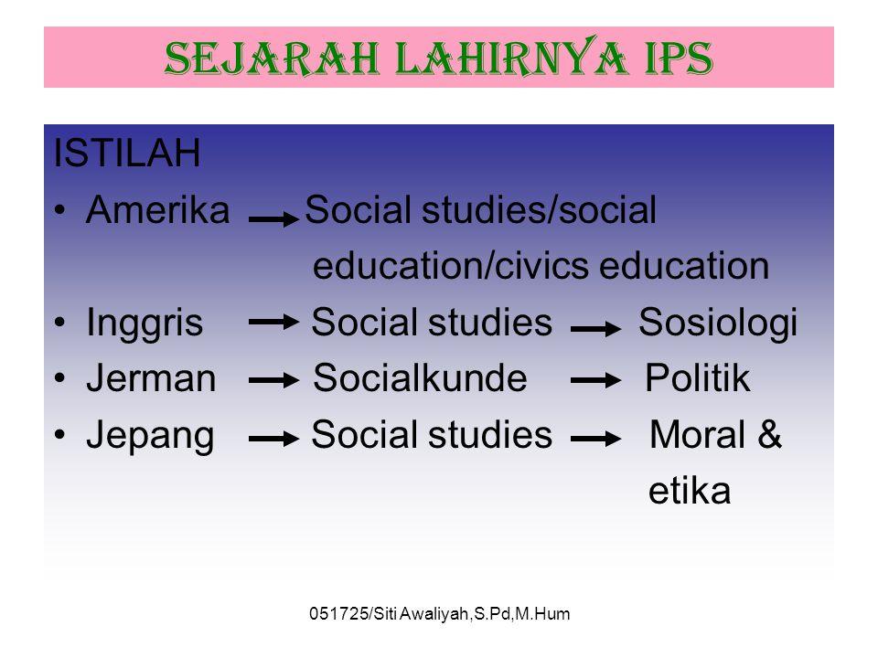 051725/Siti Awaliyah,S.Pd,M.Hum PERBEDAAN ILMU SOSIAL DAN ILMU PENGETAHUAN SOSIAL Ilmu SosialIPS IstilahSocial ScienceSocial Studies pengerti an Kel i