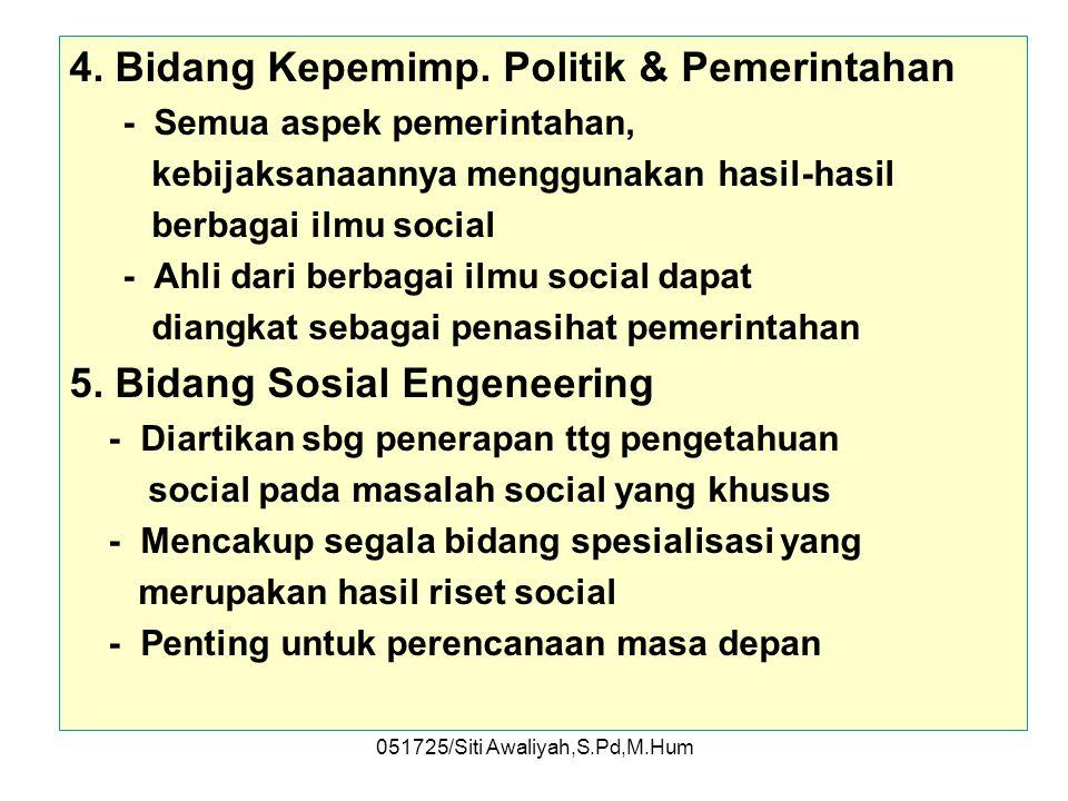 051725/Siti Awaliyah,S.Pd,M.Hum 3. Bidang Psikiatri Sosial –Mencegah terjadinya disorganisasi social dan meringankan derita manusia sebagai akibatnya