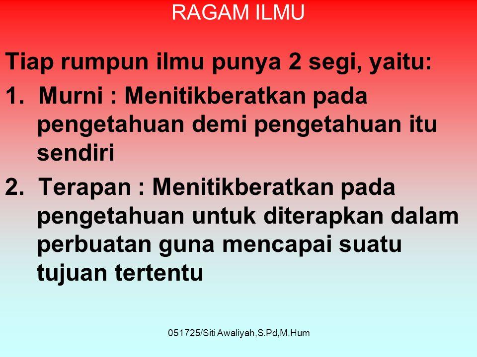 051725/Siti Awaliyah,S.Pd,M.Hum RAGAM ILMU Tiap rumpun ilmu punya 2 segi, yaitu: 1.