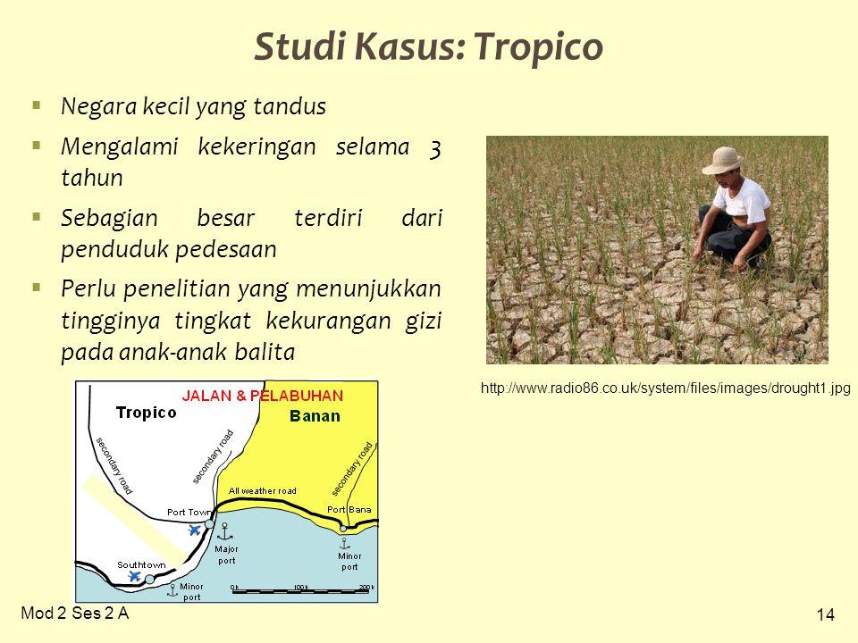 14 Mod 2 Ses 2 A Studi Kasus: Tropico  Negara kecil yang tandus  Mengalami kekeringan selama 3 tahun  Sebagian besar terdiri dari penduduk pedesaan  Perlu penelitian yang menunjukkan tingginya tingkat kekurangan gizi pada anak-anak balita http://www.radio86.co.uk/system/files/images/drought1.jpg