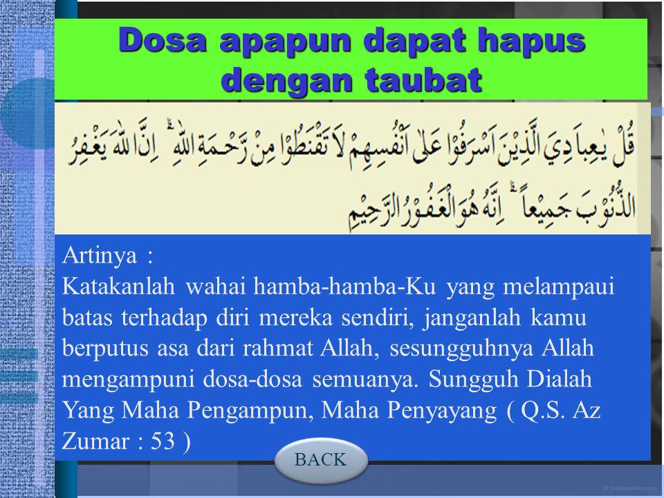 A. TOBAT Tobat At-Taubah (التَّوْبَةُ) (تَابَ - يَتُوْبُ) Kembali DEFINISI TAUBAT Menurut Bahasa berasal dari bahasa Arab yang berarti ruju', kembali
