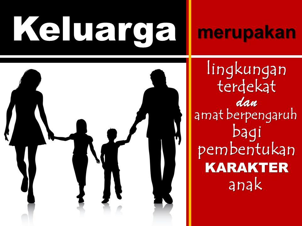 Keluarga merupakan lingkungan terdekat dan amat berpengaruh bagi pembentukan KARAKTER anak