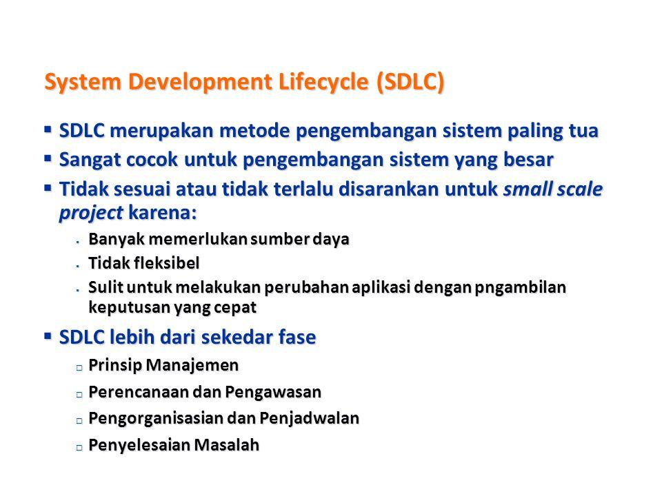 Metode Pengembangan Sistem  Banyak metode pengembangan sistem yang tersedia  Metode yang paling dikenal disebut juga sebagai System Development Life