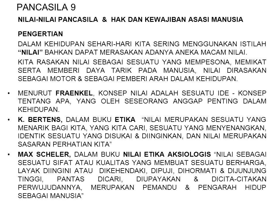 OLEH PARA PEMBENTUK NEGARA, BAHWA NILAI-NILAI PANCASILA ADALAH SESUATU YANG DIANGGAP BAIK, UNTUK SEGENAP BANGSA INDONESIA SEHINGGA DIJADIKAN PANDANGAN HIDUP & SEBAGAI POLA DASAR DALAM KEHIDUPAN BERMASYARAKAT, BERBANGSA & BERNEGARA.