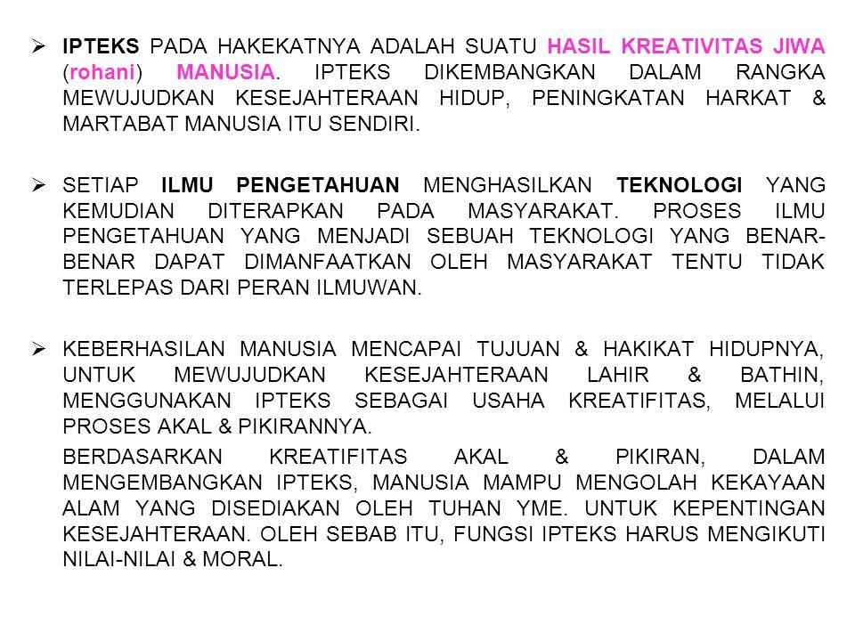  IPTEKS PADA HAKEKATNYA ADALAH SUATU HASIL KREATIVITAS JIWA (rohani) MANUSIA.