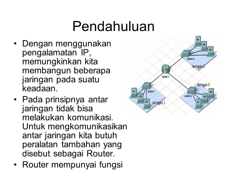 Pendahuluan •Dengan menggunakan pengalamatan IP, memungkinkan kita membangun beberapa jaringan pada suatu keadaan.