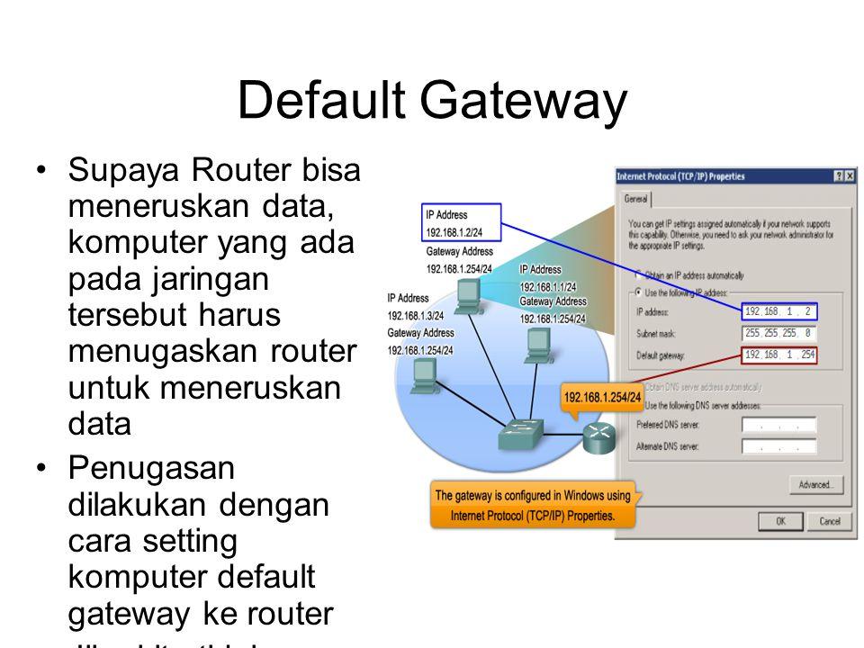 Default Gateway •Supaya Router bisa meneruskan data, komputer yang ada pada jaringan tersebut harus menugaskan router untuk meneruskan data •Penugasan dilakukan dengan cara setting komputer default gateway ke router •Jika kita tidak setting default gateway maka bisa dipastikan LAN tersebut tidak bisa terkoneksi dengan jaringan lainnya