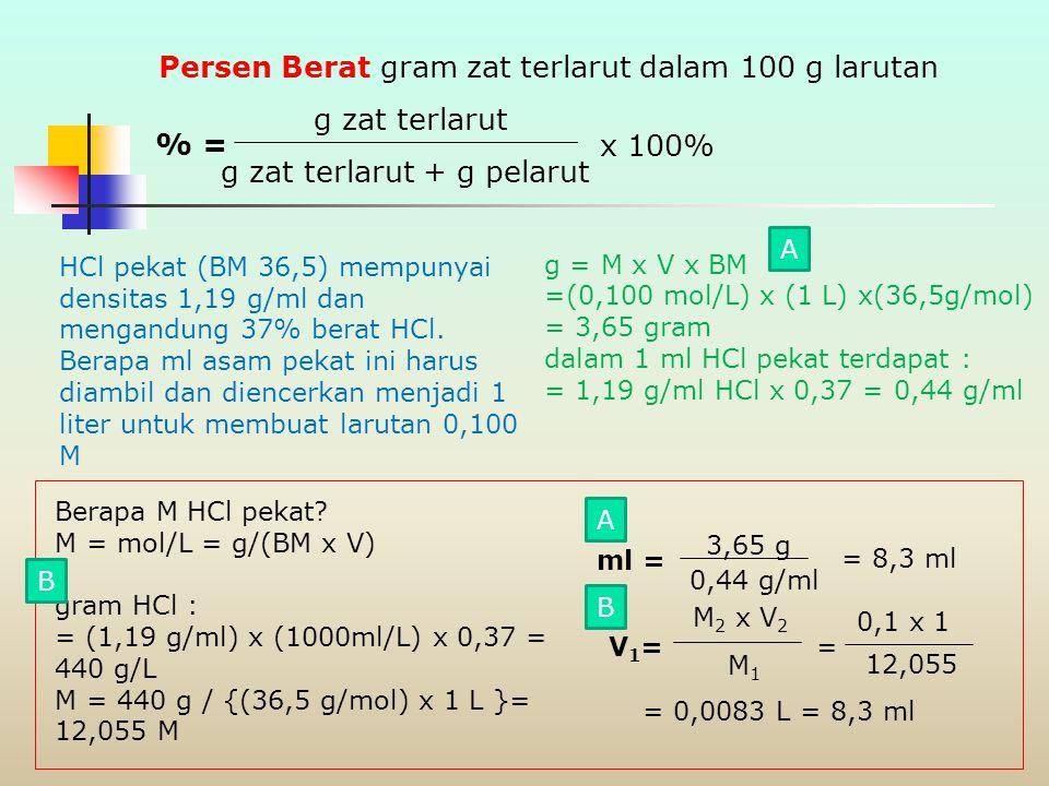 Hitung berapa gram Na 2 CO 3 murni diperlukan untuk membuat 250 ml larutan 0,150 N. Natrium karbonat itu dititrasi dengan HCl menurut persamaan : CO 3