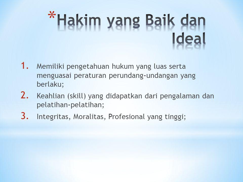 1. Memiliki pengetahuan hukum yang luas serta menguasai peraturan perundang-undangan yang berlaku; 2. Keahlian (skill) yang didapatkan dari pengalaman
