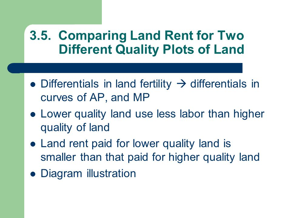 3.5. Comparing Land Rent for Two Different Quality Plots of Land  Differentials in land fertility  differentials in curves of AP, and MP  Lower qua