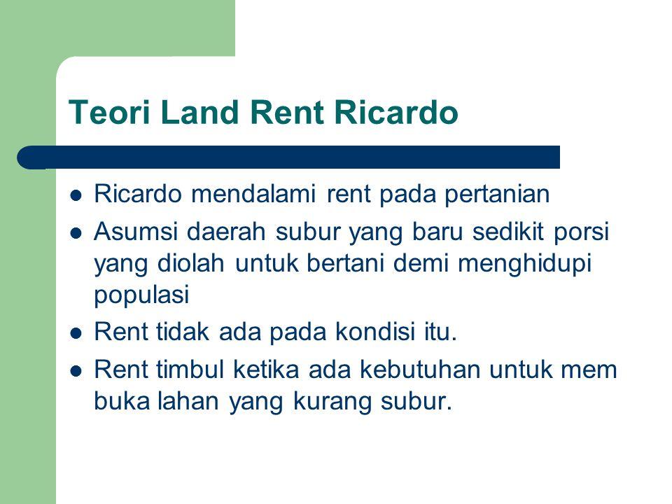 Teori Land Rent Ricardo  Ricardo mendalami rent pada pertanian  Asumsi daerah subur yang baru sedikit porsi yang diolah untuk bertani demi menghidup