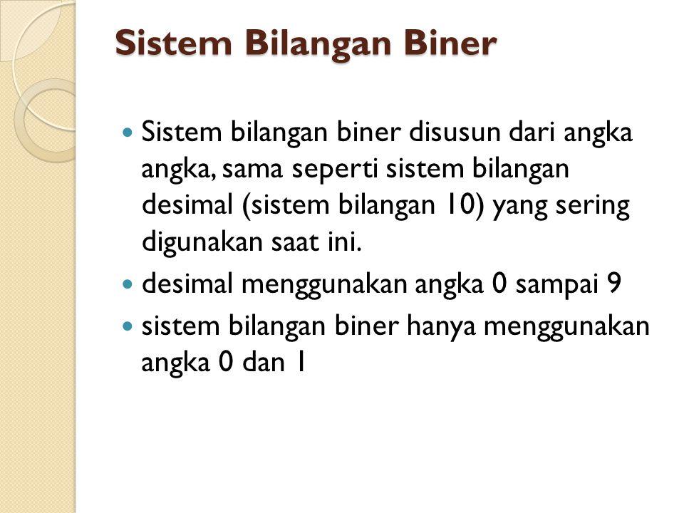 Sistem Bilangan Biner  Sistem bilangan biner disusun dari angka angka, sama seperti sistem bilangan desimal (sistem bilangan 10) yang sering digunaka