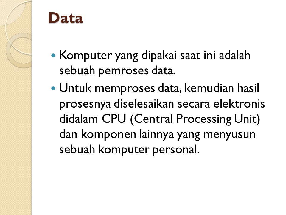 Data  Komputer yang dipakai saat ini adalah sebuah pemroses data.  Untuk memproses data, kemudian hasil prosesnya diselesaikan secara elektronis did