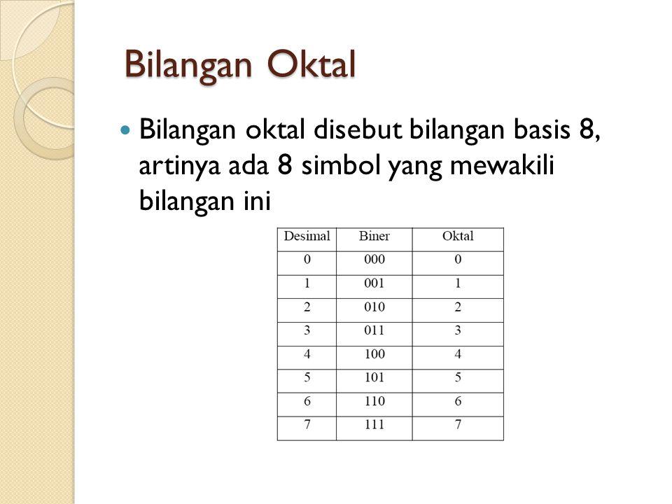 Bilangan Oktal Bilangan Oktal  Bilangan oktal disebut bilangan basis 8, artinya ada 8 simbol yang mewakili bilangan ini