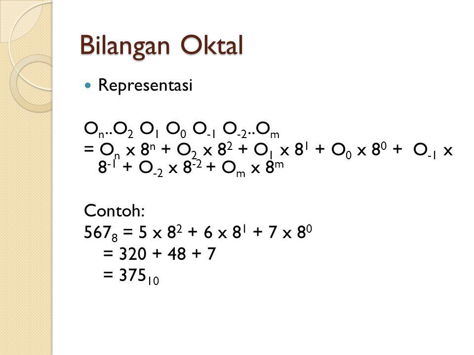 Bilangan Oktal  Representasi O n..O 2 O 1 O 0 O -1 O -2..O m = O n x 8 n + O 2 x 8 2 + O 1 x 8 1 + O 0 x 8 0 + O -1 x 8 -1 + O -2 x 8 -2 + O m x 8 m