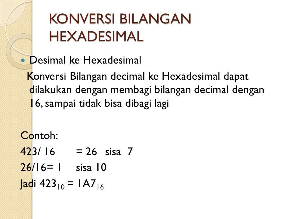 KONVERSI BILANGAN HEXADESIMAL  Desimal ke Hexadesimal Konversi Bilangan decimal ke Hexadesimal dapat dilakukan dengan membagi bilangan decimal dengan