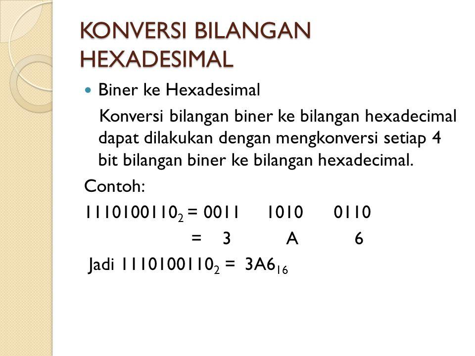  Biner ke Hexadesimal Konversi bilangan biner ke bilangan hexadecimal dapat dilakukan dengan mengkonversi setiap 4 bit bilangan biner ke bilangan hex