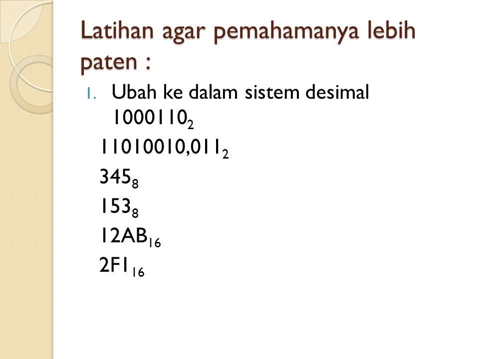 Latihan agar pemahamanya lebih paten : 1. Ubah ke dalam sistem desimal 1000110 2 11010010,011 2 345 8 153 8 12AB 16 2F1 16