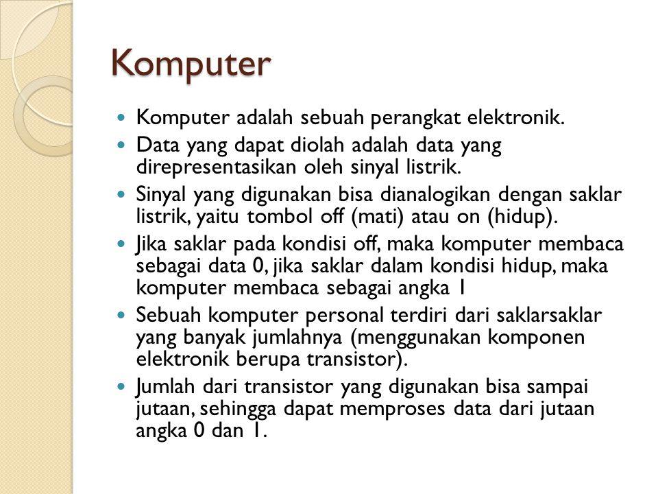 Komputer  Komputer adalah sebuah perangkat elektronik.  Data yang dapat diolah adalah data yang direpresentasikan oleh sinyal listrik.  Sinyal yang