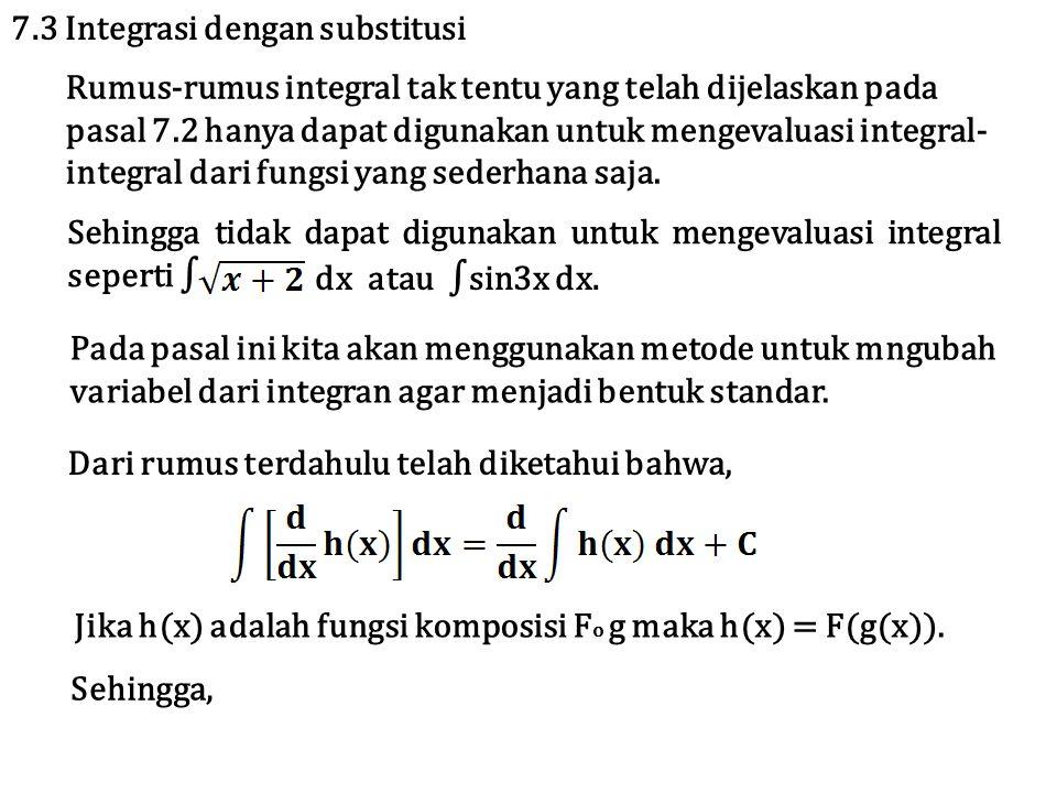 7.3 Integrasi dengan substitusi Rumus-rumus integral tak tentu yang telah dijelaskan pada pasal 7.2 hanya dapat digunakan untuk mengevaluasi integral- integral dari fungsi yang sederhana saja.