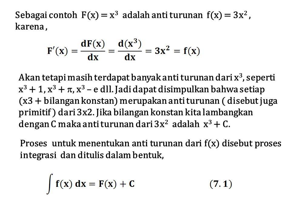 Sebagai contoh F(x) = x 3 adalah anti turunan f(x) = 3x 2, karena, Akan tetapi masih terdapat banyak anti turunan dari x 3, seperti x 3 + 1, x 3 + , x 3 – e dll.