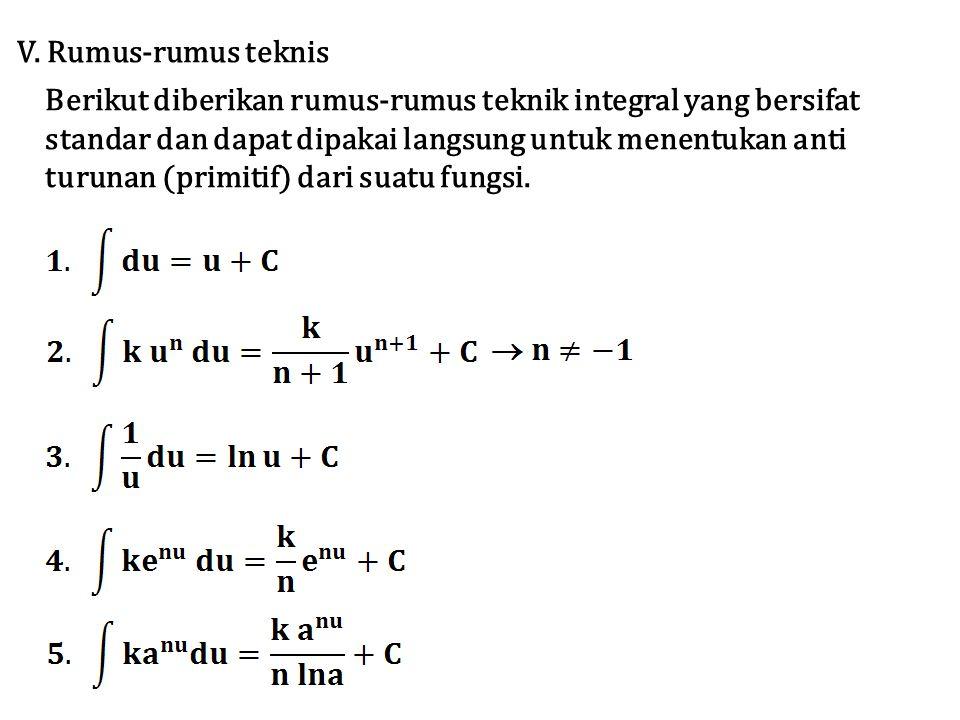 V. Rumus-rumus teknis Berikut diberikan rumus-rumus teknik integral yang bersifat standar dan dapat dipakai langsung untuk menentukan anti turunan (pr