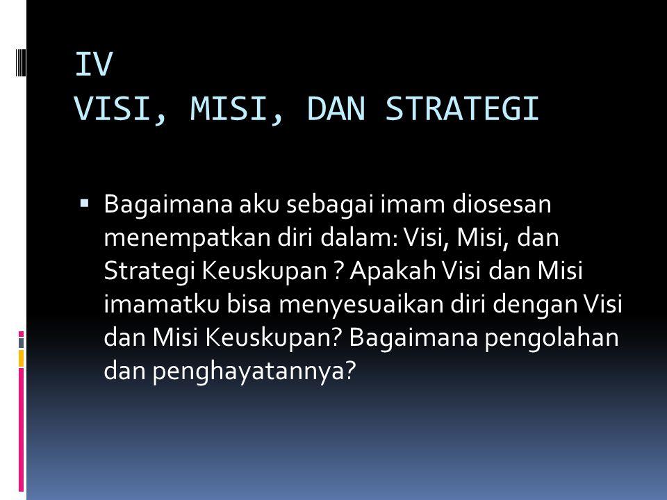 IV VISI, MISI, DAN STRATEGI  Bagaimana aku sebagai imam diosesan menempatkan diri dalam: Visi, Misi, dan Strategi Keuskupan .