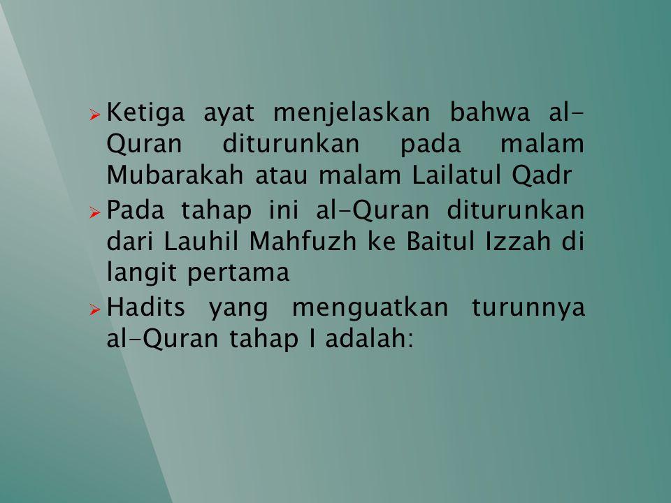 a) Dari Ibn Abbas, ia berkata: al-Quran itu dipisahkan dari Dzikir lalu diturunkan ke Baitul Izzah di langit pertama kemudian disampaikan oleh Jibril kepada Nabi SAW .