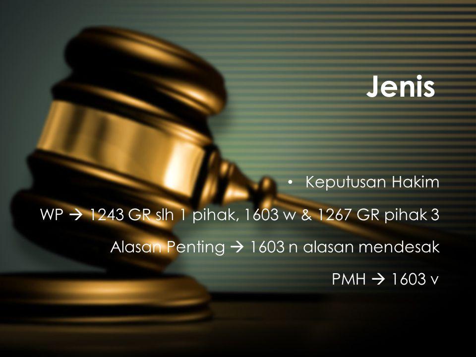 Jenis • Keputusan Hakim WP  1243 GR slh 1 pihak, 1603 w & 1267 GR pihak 3 Alasan Penting  1603 n alasan mendesak PMH  1603 v