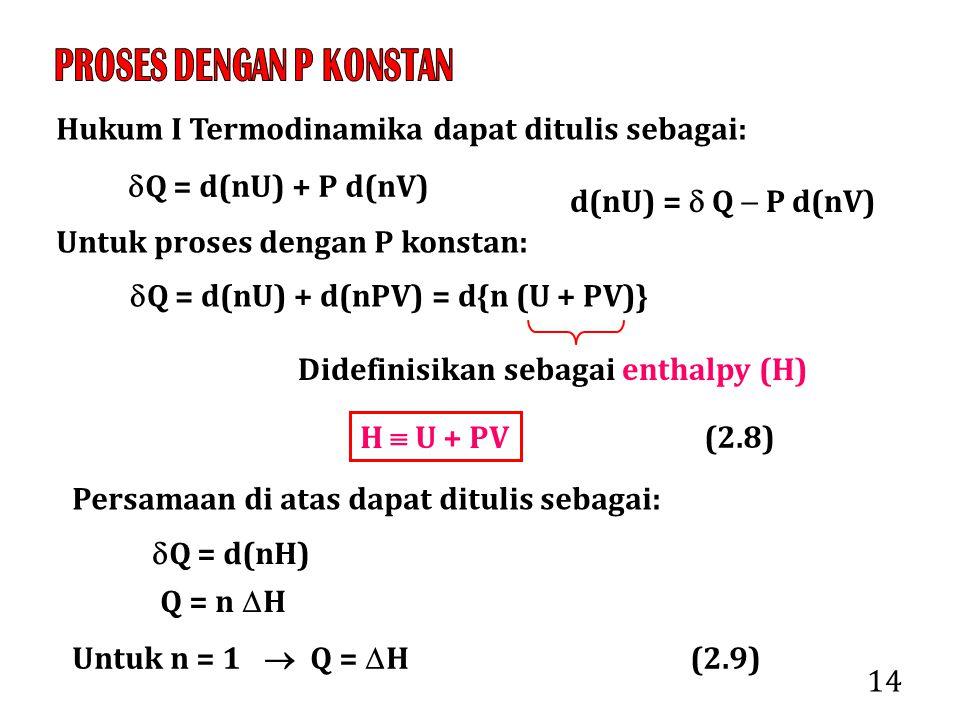 14 Hukum I Termodinamika dapat ditulis sebagai:  Q = d(nU) + P d(nV) Untuk proses dengan P konstan:  Q = d(nU) + d(nPV) = d{n (U + PV)} Didefinisikan sebagai enthalpy (H) H  U + PV Persamaan di atas dapat ditulis sebagai:  Q = d(nH) Q = n  H (2.8) Untuk n = 1  Q =  H (2.9) d(nU) =  Q  P d(nV)