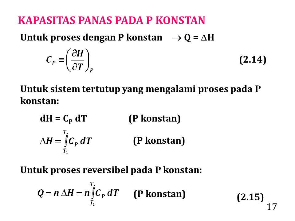 17 KAPASITAS PANAS PADA P KONSTAN Untuk sistem tertutup yang mengalami proses pada P konstan: dH = C P dT(P konstan) (P konstan) Untuk proses reversibel pada P konstan: (P konstan) Untuk proses dengan P konstan  Q =  H (2.14) (2.15)