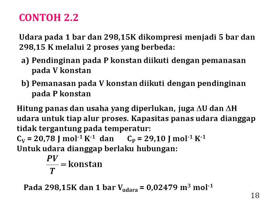18 CONTOH 2.2 Udara pada 1 bar dan 298,15K dikompresi menjadi 5 bar dan 298,15 K melalui 2 proses yang berbeda: a)Pendinginan pada P konstan diikuti dengan pemanasan pada V konstan b)Pemanasan pada V konstan diikuti dengan pendinginan pada P konstan Hitung panas dan usaha yang diperlukan, juga  U dan  H udara untuk tiap alur proses.