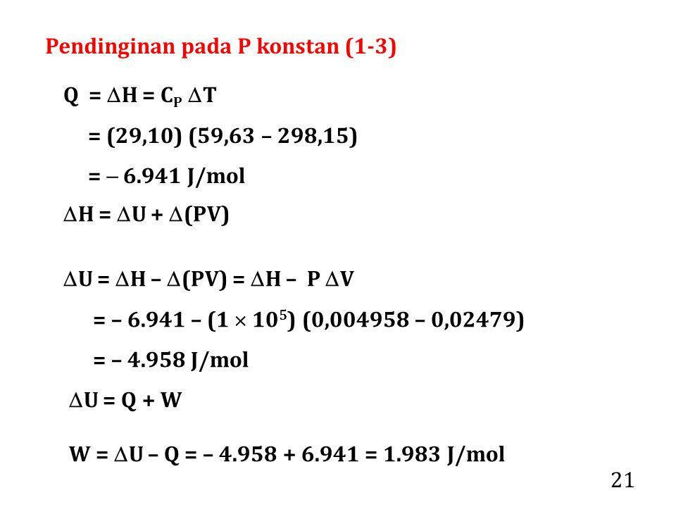21 Q =  H = C P  T = (29,10) (59,63 – 298,15) =  6.941 J/mol  U =  H –  (PV) =  H – P  V = – 6.941 – (1  10 5 ) (0,004958 – 0,02479) = – 4.958 J/mol  H =  U +  (PV)  U = Q + W W =  U – Q = – 4.958 + 6.941 = 1.983 J/mol Pendinginan pada P konstan (1-3)