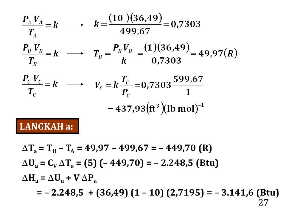 27 LANGKAH a:  T a = T B – T A = 49,97 – 499,67 = – 449,70 (R)  U a = C V  T a = (5) (– 449,70) = – 2.248,5 (Btu)  H a =  U a + V  P a = – 2.248,5 + (36,49) (1 – 10) (2,7195) = – 3.141,6 (Btu)