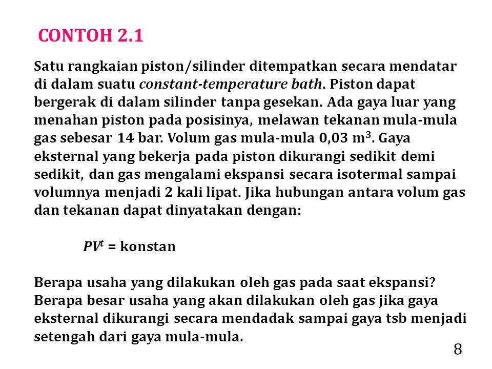 8 CONTOH 2.1 Satu rangkaian piston/silinder ditempatkan secara mendatar di dalam suatu constant-temperature bath.