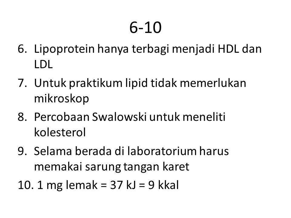 6-10 6.Lipoprotein hanya terbagi menjadi HDL dan LDL 7.Untuk praktikum lipid tidak memerlukan mikroskop 8.Percobaan Swalowski untuk meneliti kolestero