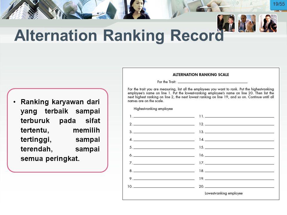 Alternation Ranking Record •Ranking karyawan dari yang terbaik sampai terburuk pada sifat tertentu, memilih tertinggi, sampai terendah, sampai semua peringkat.