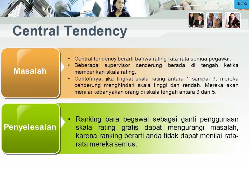 Central Tendency •Central tendency berarti bahwa rating rata-rata semua pegawai.