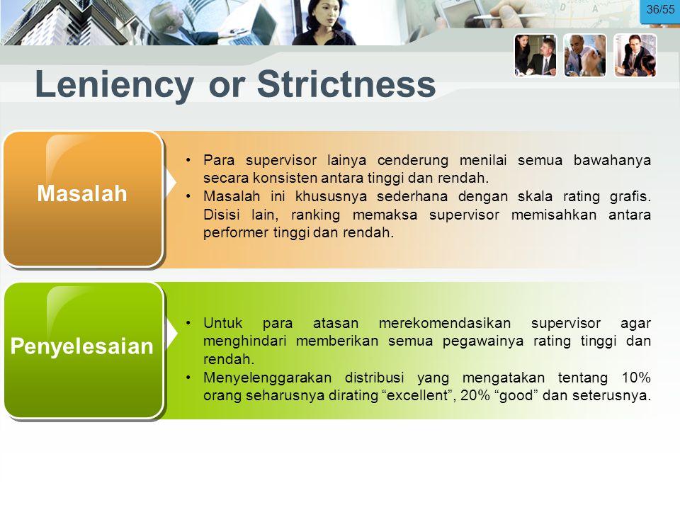 Leniency or Strictness •Para supervisor lainya cenderung menilai semua bawahanya secara konsisten antara tinggi dan rendah.
