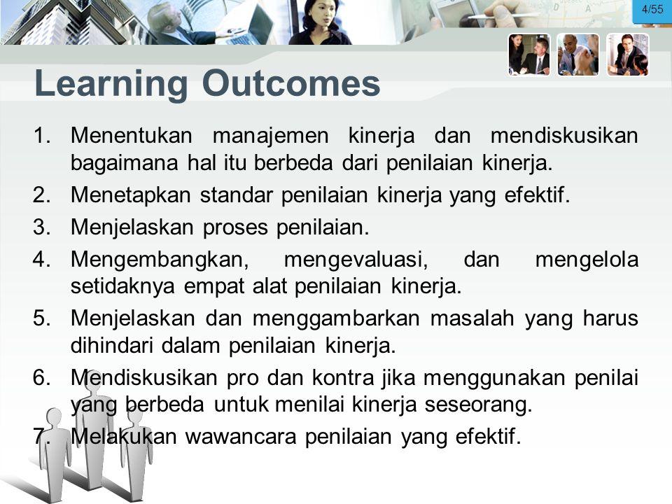 Learning Outcomes 1.Menentukan manajemen kinerja dan mendiskusikan bagaimana hal itu berbeda dari penilaian kinerja.