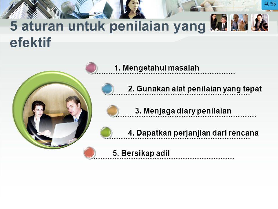 5 aturan untuk penilaian yang efektif 5.Bersikap adil 1.