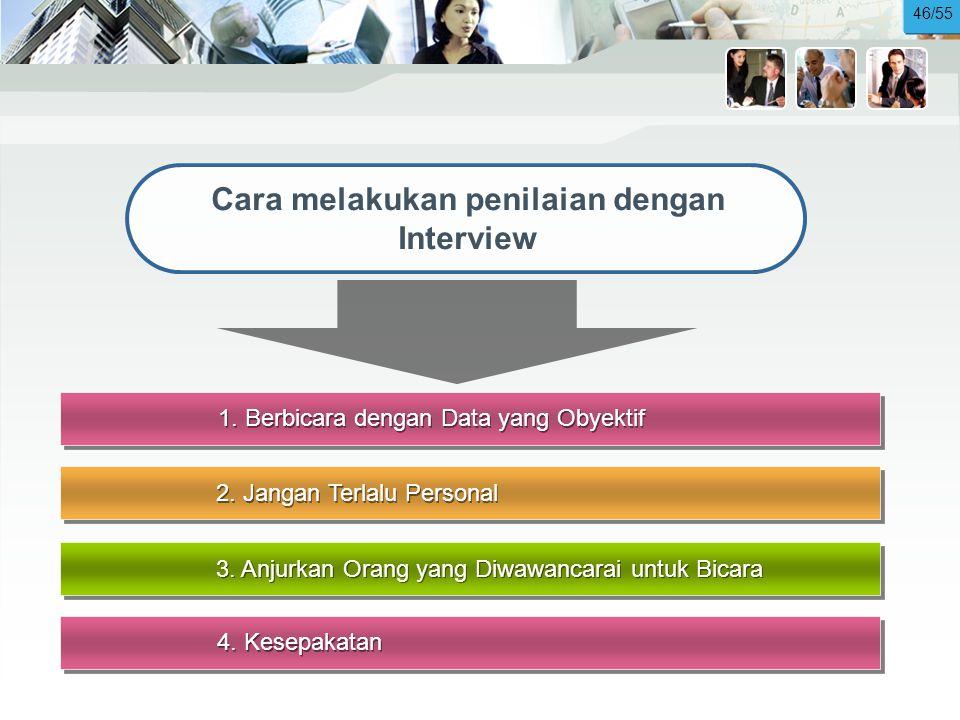 1.Berbicara dengan Data yang Obyektif Cara melakukan penilaian dengan Interview 2.
