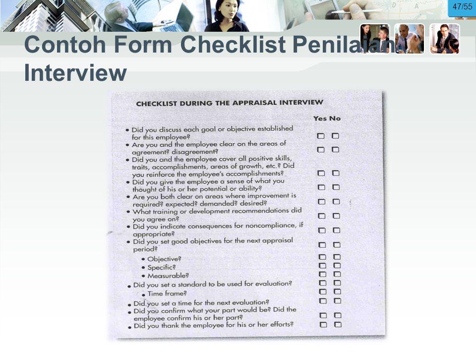 Contoh Form Checklist Penilaian Interview 47/55